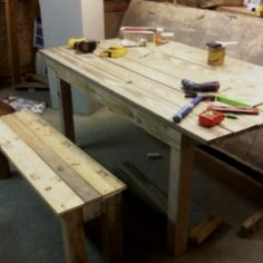 Dinning room table and Bench that I made out of old pallets and shipping timbers from work