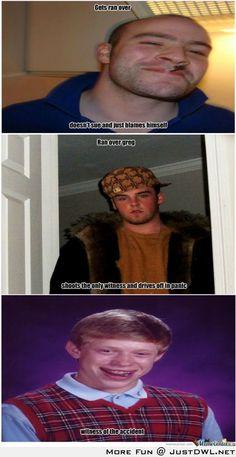 Drama, Good guy greg vs Scumbag Steve vs Bad Luck Brian