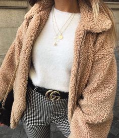 outfit | style | teddy coat | teddy bear | jacket | pink | white jumper | gucci belt | check trousers | pants | checked | winter | autumn | casual | necklaces | accessories