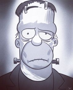 FrakenHomer, The Simpsons Simpsons Drawings, Simpsons Art, Music Drawings, Art Drawings, Cartoon Art, Cartoon Characters, Animated Icons, Animal Sketches, The Simpsons