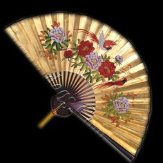 Wall Fan 70 Inch Red Birds Flirting Amongst the Flowers with Golden Background  Price: $29.99 Ninja Gear, Large Fan, Golden Background, Wall Fans, Flirting, Birds, Hand Painted, Flowers, Red
