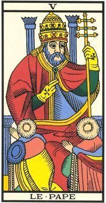 Interprétation de l'arcane du Pape dans le jeu du tarot de marseille. - Apprendre le Tarot de Marseille, le Tarot Divinatoire