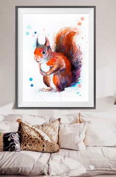 Red squirrel watercolor painting print Red squirrel by SlaviART