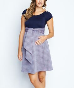 Look at this #zulilyfind! Navy Tile Tie-Front Maternity Dress by Maternal America #zulilyfinds