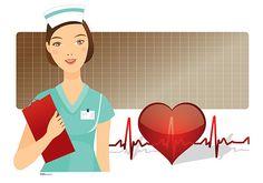 Nurse with EKG trace and Heart