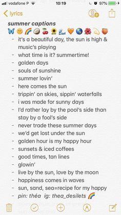 summer quotes summer captions // quotes // insta c - quotes Bio Instagram, Summer Quotes Instagram, Instagram Caption Lyrics, Instagram Captions For Friends, Instagram Captions For Selfies, Selfie Captions, Selfie Quotes, Beach Insta Captions, Short Insta Captions