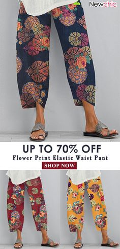 Gracila Flower Print Casual Pant Women Elastic Waist Pant is necessary for cold weather, NewChic will show cheap trendy women Pants & Capris for you. Boho Fashion, Fashion Outfits, Womens Fashion, Fashion Vintage, Baggy Jeans Damen, Cool Outfits, Casual Outfits, Elastic Waist Pants, Pants For Women