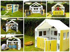 Después de que dos hijas de un amigo deseaban que su padre les hiciera una casa de juegos con palets para su jardin exterior, empecé a notar cuántos plásti