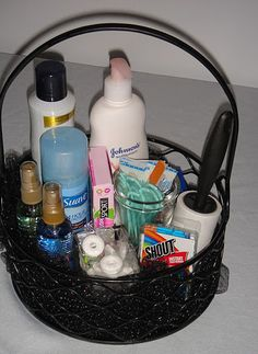 Some other things guests might appreciate - bandaids, lint roller, mints, disposable razors, stain remover, and hand lotion.