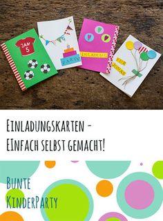 Bunte Einladungskarten für den Kindergeburtstag