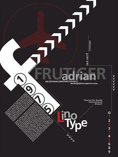 adrian frutiger poster using shapes and fonts to make a full design.