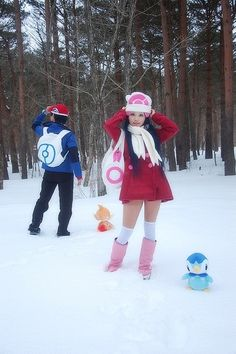 Pokemon trainer Dawn and Lucas cosplay Group Cosplay, Epic Cosplay, Amazing Cosplay, Family Cosplay, Cute Halloween Costumes, Cool Costumes, Anime Costumes, Cosplay Costumes, Pokemon Trainer Cosplay