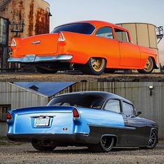 Hot Wheels - Two of our favourite 55 Chevrolet's with that bad ass ¾ rear stance! @ironworksspeedandkustom up top and @prorides_terzich down below, and they both pack supercharged power!  ⬆ Source @ironworksspeedandkustom ⬇ @mcgaffindigitalphoto...