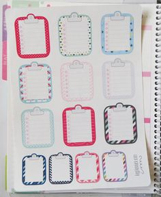 One 6 x 8 sheet of 9 clipboard misc. pattern / 4 mini clipboard misc. pattern to do list planner stickers cut and ready for use in your Erin Condren