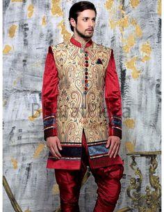 Captivating Indo Western Sherwani. http://www.bharatplaza.com/mens-wear/sherwanis/indo-western-sherwani.html