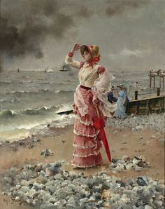 Hand painted oil painting reproduction on canvas of Femme Elegante Voyant Filer Un Vapeur by artist Alfred Stevens as gift or decoration by customer order. Alfred Stevens, 24. August, Le Havre, Illustration, Art Database, Oil Painting Reproductions, Am Meer, Beach Scenes, Whistler