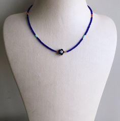 Evileye Necklace/Flower Necklace/Blue&Orange by byseraykacar