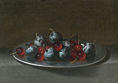 Juan van der Hamen y León,Plato con ciruelas y guindas (Plate with plums and cherries). c. 1631.