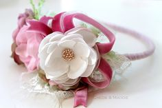 Fascia di fiori rosa crema polveroso rosa di ChloeANDMaddie