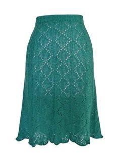 WOMENS/LADIES VINTAGE CLOTHES, 1940'S WORLD WAR 2 STYLE, GREEN KNITTED SKIRT, 14