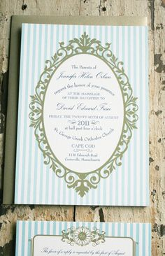 Love these invitations! Blue stripe and frame
