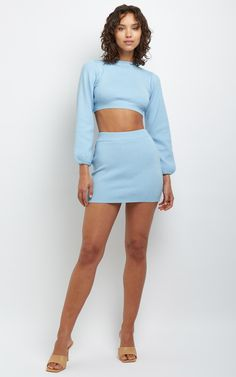 Two Piece Dress Casual, Two Piece Outfit, Blue Skirt Outfits, Cute Outfits, Classy Short Dresses, Powerpuff Girls Costume, Light Blue Skirts, Blue Two Piece, Rainbow Outfit