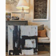 dropped off a new abstract today @bdjeffriesatl 36x36  #blackandwhite #neutral #geometric #modernart #buckhead #atlantainteriors #africanstyle #texture #carriepenleyart