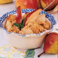 Pear Crisp-- Very easy. Very good. Not much more to say! I will probably toss a teaspoon or two of flour in with the pears next time, in order to thicken the juice a bit as it was a little thin, but, otherwise, this was a winner!-- NW