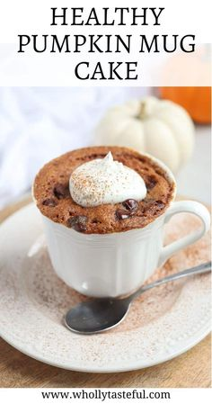 Healthy Pumpkin Mug Cake is a healthy and nutritious fall treat that is perfect for breakfast, snack or a quick single-serving dessert when you have zero time. Made with canned pumpkin, almond butter and almond flour, it is high in protein and delicious. Canned Pumpkin, Pumpkin Spice, Healthy Treats, Healthy Desserts, Paleo Mug Cake, Almond Butter, Almond Flour, Single Serve Desserts, Healthy Pumpkin