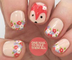 One Nail To Rule Them All: Tutorial Tuesday: Floral Foxes for Divine Caroline