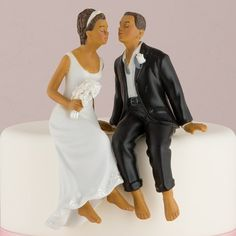 Whimsical Sitting Bride and Groom Cake Topper - The Knot Shop