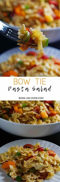 Need a salad for a cookout? Bow Tie Pasta Salad Recipe - Crunchy w/lots of delicious Italian seasonings no mayo, it's perfect for a barbecue or any time of the year! via @bowlmeover
