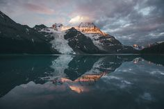 Sunrise at Berg Lake - Sunrise at Berg Lake with Mt. Robson reflecting, the highest peak in the Canadian Rockies