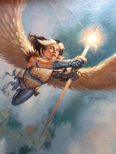 Todd Lockwood Original Magic the Gathering artwork- Blinding Angel