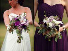 bridesmaid dresses and bouquets in dark purple, white and sage green