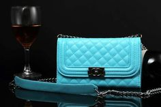 Chanel Samsung Galaxy S5 Leather Case Cover Blue W Mirror Free Shipping - Deluxeiphonecase.com