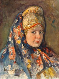 И.С.Горюшкин-Сорокопудов. Молодая женщина в кичке и в платке.