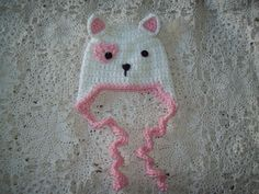 Crochet Valentine s Day Pink White Kitty Cat Heart EARFLAP HAT Infant Baby  Made Usa Free Shipping c7aea4d9225