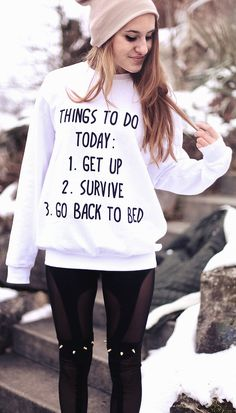 """Things to do today..."" Sweatshirt with Beanie & Spiked leggings"