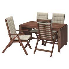 ÄPPLARÖ Mesa+6 sill reclin ext, tinte marrón - IKEA Outdoor Cushion Covers, Outdoor Cushions, Chair Cushions, Outdoor Chairs, Ikea Outdoor, Ikea Table, Table And Chairs, Dinning Table, Dining Chairs