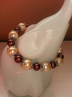 Pretty Beige/Yellow/Gold and Brown Embellished Glass Pearl Stretch Bracelet by SparklingYouDesigns on Etsy