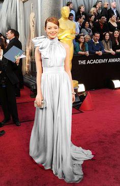 Emma Stone in white. My version! Kim Kardashian, Oscars 2012, Emma Stone, Gray Dress, Bride, Formal Dresses, Grey, Color, Fashion