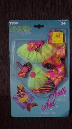 DISNEY ARIEL ARIELLE COOL FASHION Outfit Boxed 1993 VINTAGE LITTLE MERMAID TYCO 10+2.8