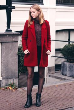 outfit red zara coat