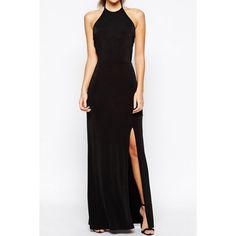 Noble Halter Backless High Slit Maxi Dress For Women
