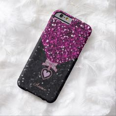 Pink and Black Glitters iPhone 6 Case by elenaind (Elena Indolfi) from #ZAZZLE