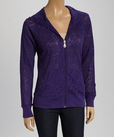 Love this Purple Roses Burnout Hoodie by TROO on #zulily! #zulilyfinds