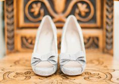 Silver Bow Heels Shoes Bride Bridal Eclectic Cranberry Red Silver Grey Antique White Barn Wedding http://www.faithdwightphotography.com/