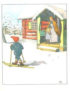 An illustration from Elsa Beskow's classic winter tale, Ollie's Ski Trip - Floris Books Vintage Book Art, Vintage Cards, Vintage Postcards, Winter Illustration, Illustration Art, Elsa Beskow, Winter's Tale, Artists For Kids, Scandinavian Art