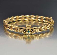 Emerald Gold Claddagh Antique Victorian Bangle Bracelet